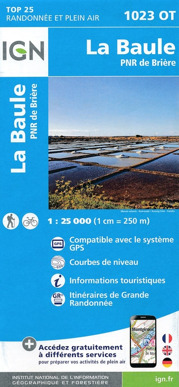 1023OT  Guérande, le Croisic | wandelkaart 1:25.000 9782758536116  IGN TOP 25  Wandelkaarten Bretagne