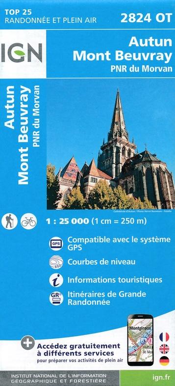 2824OT  Autun, Mont Beuvray | wandelkaart 1:25.000 9782758536130  IGN TOP 25  Wandelkaarten Morvan