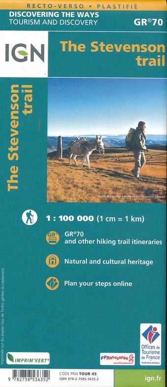 Chemin de Stevenson GR-70 1:100.000 9782758536352  IGN   Meerdaagse wandelroutes, Wandelkaarten Cevennen, Languedoc