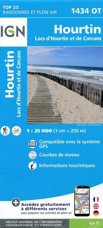 1434OT Lac d'Hourtin et de Carcans | wandelkaart 1:25.000 9782758536925  IGN IGN 25 Aquitaine  Wandelkaarten Aquitaine, Bordeaux