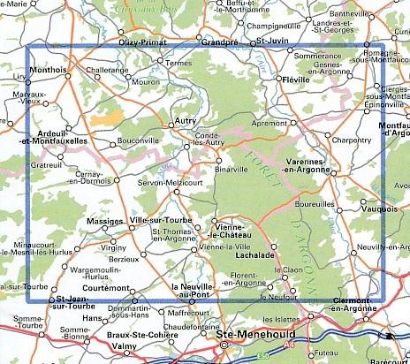 wandelkaart 3012-SB  Varennes-en-Argonne, Ville-sur-Tourbe 1:25.000 9782758537380  IGN IGN 25 Champagne / Ardennes  Wandelkaarten Champagne, Franse Ardennen