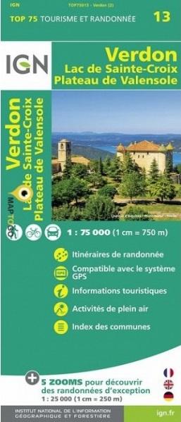 PNR du Verdon, Lac Ste-Croix, Valensole | IGN overzichts- en wandelkaart 9782758538561  IGN TOP 75  Landkaarten en wegenkaarten, Wandelkaarten Franse Alpen: zuid