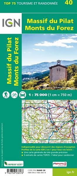 Massif du Pilat - Monts du Forez | IGN overzichts- en wandelkaart 9782758538578  IGN TOP 75  Fietskaarten, Wandelkaarten Lyon en omgeving