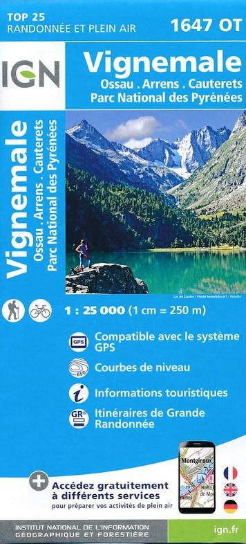 1647OT Vignemale | wandelkaart 1:25.000 9782758538820  IGN IGN 25 Franse Pyreneeën  Wandelkaarten Franse Pyreneeën