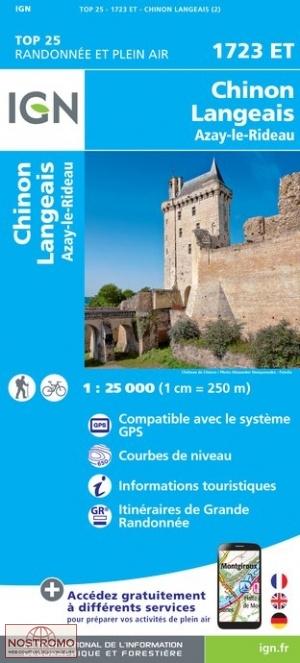 1723ET Chinon, Langeais, Azay-le-Rideau | wandelkaart 1:25.000 9782758538837  IGN IGN 25 Centre/Loire/Atlantique  Wandelkaarten Loire & Centre