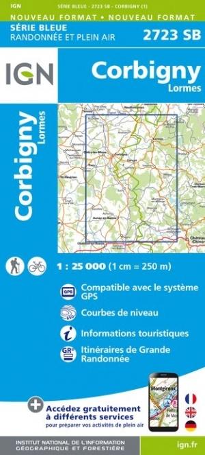 wandelkaart 2723-SB Corbigny, Lormes 1:25.000 9782758539094  IGN IGN 25 Bourgogne & Morvan  Wandelkaarten Morvan