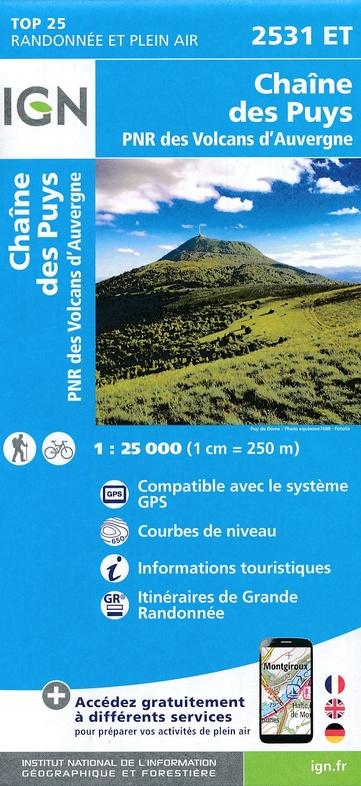 2531ET  Puy-de-Dome, Chaîne des Puys | wandelkaart 1:25.000 9782758539124  IGN IGN 25 Auvergne  Wandelkaarten Auvergne