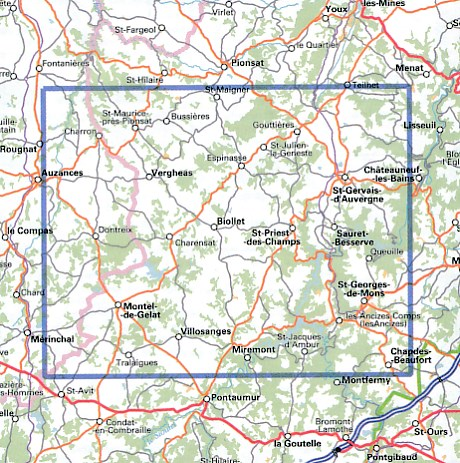 wandelkaart 2430-SB St-Gervais d'Auvergne 1:25.000 9782758539223  IGN IGN 25 Auvergne  Wandelkaarten Auvergne