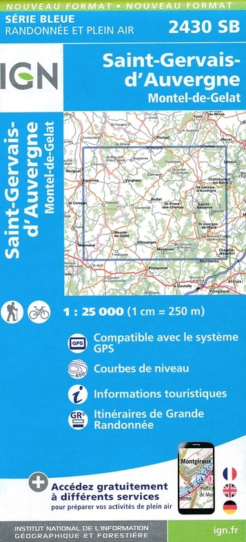 SB-2430SB St-Gervais d'Auvergne | wandelkaart 1:25.000 9782758539223  IGN IGN 25 Auvergne  Wandelkaarten Auvergne