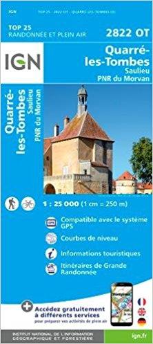 2822OT Quarré-les-Tombes | wandelkaart 1:25.000 9782758539308  IGN IGN 25 Bourgogne & Morvan  Wandelkaarten Morvan