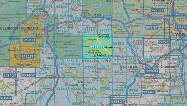 wandelkaart 2732-SB  Ambert, St-Georges-en-Couzan 1:25.000 9782758539643  IGN IGN 25 Auvergne  Wandelkaarten Auvergne