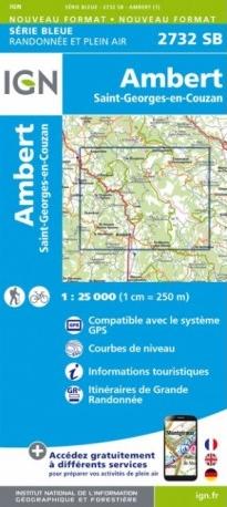 SB-2732SB  Ambert, St-Georges-en-Couzan  | wandelkaart 1:25.000 9782758539643  IGN IGN 25 Auvergne  Wandelkaarten Auvergne
