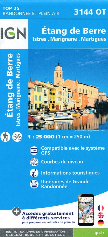 3144OT  Martigues, étang de Berre | wandelkaart 1:25.000 9782758539773  IGN IGN 25 Provence  Wandelkaarten Provence, Marseille, Camargue