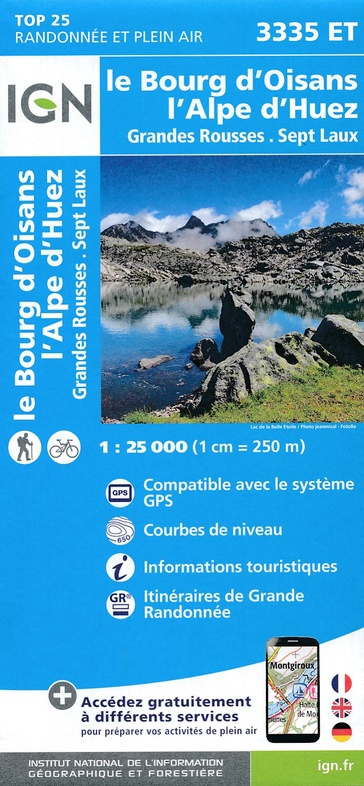 3335ET Alpe d'Huez, Le Bourg d'Oisans | wandelkaart 1:25.000 9782758539896  IGN IGN 25 Franse Alpen/ zuidhelft  Wandelkaarten Franse Alpen: zuid