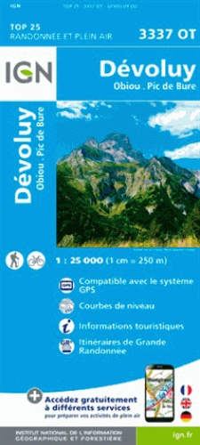 3337OT Dévoluy, Obiou, Pic de Bure | wandelkaart 1:25.000 9782758539919  IGN IGN 25 Franse Alpen/ zuidhelft  Wandelkaarten Franse Alpen: zuid