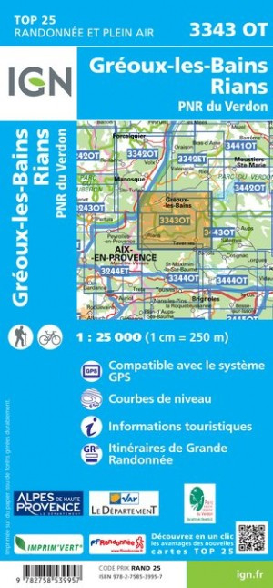 3343OT  Gréoux, Rians, Bas-Verdon | wandelkaart 1:25.000 9782758539957  IGN TOP 25  Wandelkaarten Provence, Marseille, Camargue
