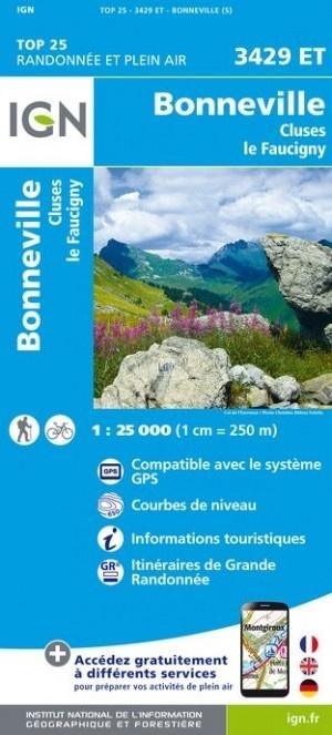 3429ET   Bonneville, Cluses | wandelkaart 1:25.000 9782758539988  IGN IGN 25 Franse Alpen/ Nrd.helft  Wandelkaarten Franse Alpen: noord