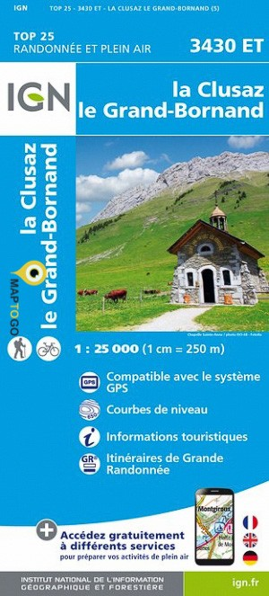 3430ET La Clusaz, le Grand-Bornand | wandelkaart 1:25.000 9782758539995  IGN TOP 25  Wandelkaarten Franse Alpen: noord