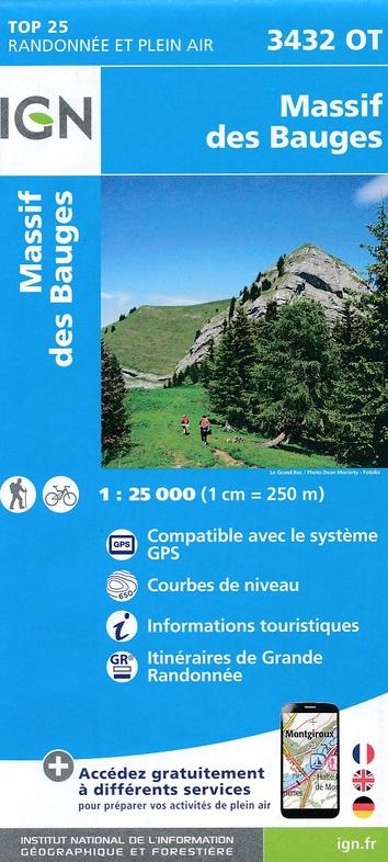 3432OT   Massif des Bauges | wandelkaart 1:25.000 9782758540021  IGN IGN 25 Franse Alpen/ Nrd.helft  Wandelkaarten Franse Alpen: noord