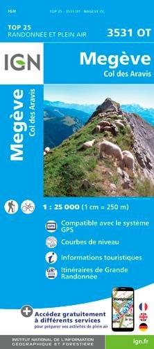 3531OT  Megève, Col des Aravis, Flumet | wandelkaart 1:25.000 9782758540076  IGN IGN 25 Franse Alpen/ Nrd.helft  Wandelkaarten Franse Alpen: noord
