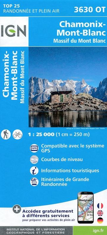 3630OT Chamonix, Mont-Blanc | wandelkaart 1:25.000 9782758540083  IGN TOP 25  Wandelkaarten Franse Alpen: noord