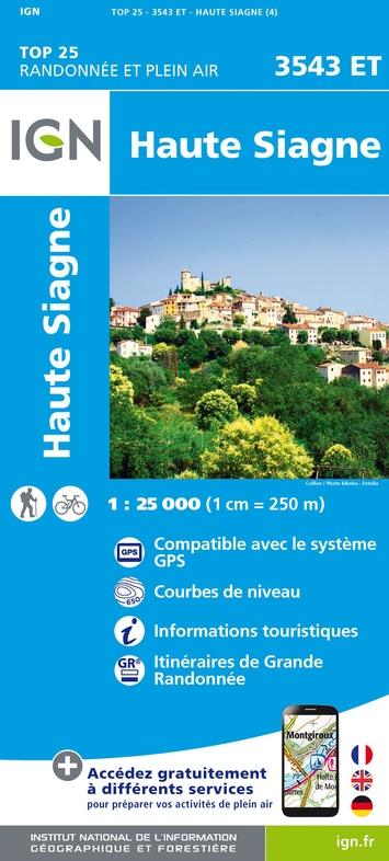 3543ET   Haute Siagne, Grasse | wandelkaart 1:25.000 9782758540380  IGN IGN 25 Franse Alpen/ zuidhelft  Wandelkaarten Franse Alpen: zuid