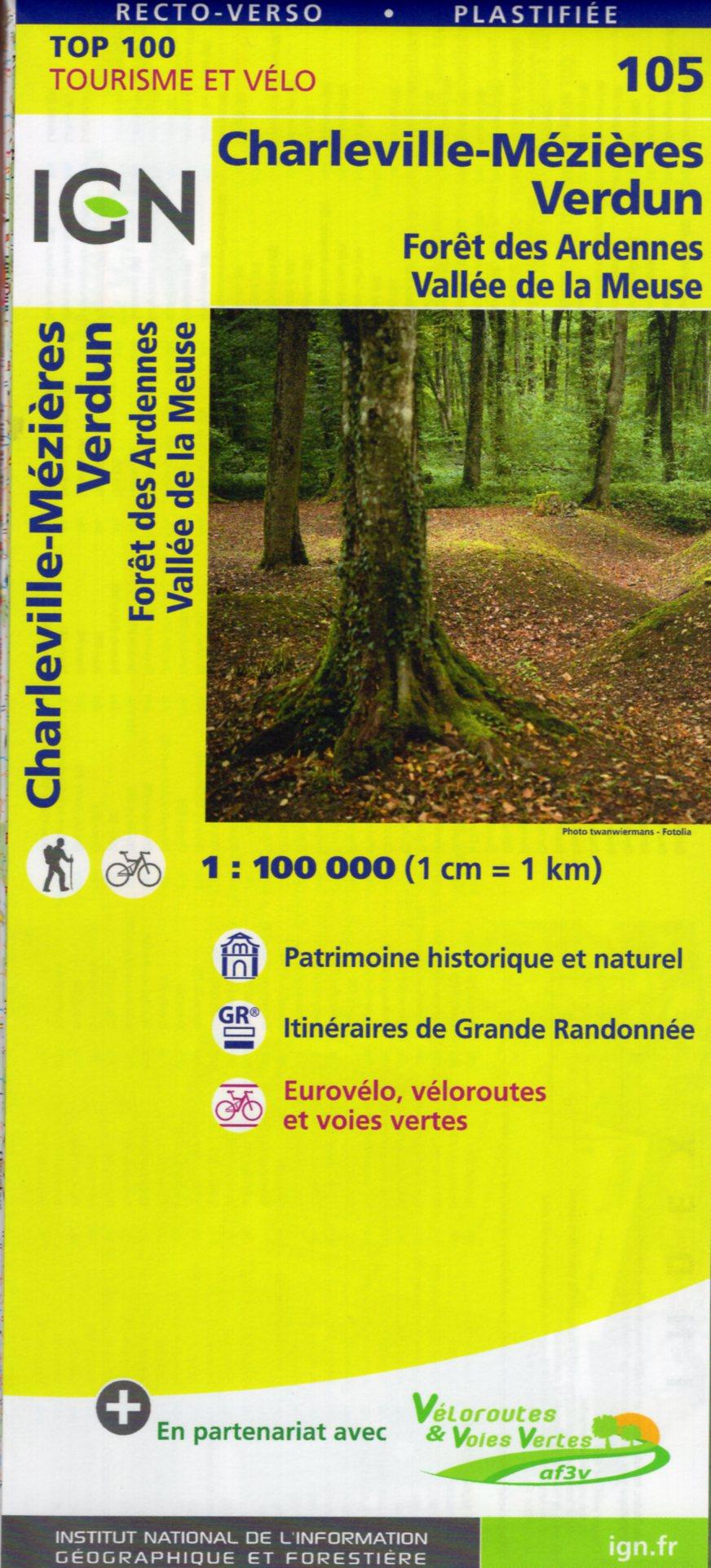 SV-105  Charleville-Mézières, Verdun | omgevingskaart / fietskaart 1:100.000 9782758540779  IGN Série Verte 1:100.000  Fietskaarten, Landkaarten en wegenkaarten Champagne, Franse Ardennen