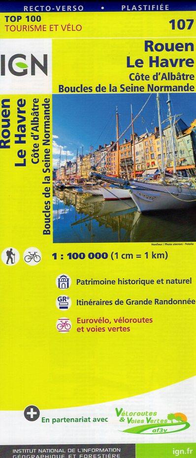 SV-107  Rouen, Le Havre | omgevingskaart / fietskaart 1:100.000 9782758540786  IGN Série Verte 1:100.000  Fietskaarten, Landkaarten en wegenkaarten Normandië