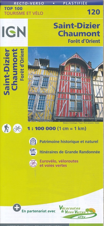 SV-120  St-Dizier, Chaumont | omgevingskaart / fietskaart 1:100.000 9782758540793  IGN Série Verte 1:100.000  Fietskaarten, Landkaarten en wegenkaarten Champagne, Franse Ardennen