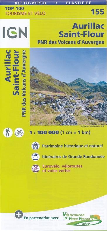 SV-155  Aurillac, St-Flour | omgevingskaart / fietskaart 1:100.000 9782758540854  IGN Série Verte 1:100.000  Fietskaarten, Landkaarten en wegenkaarten Auvergne