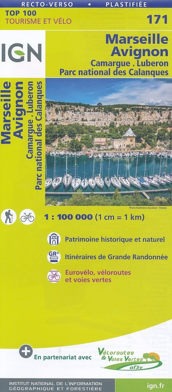 SV-171  Avignon, Marseille   omgevingskaart / fietskaart 1:100.000 9782758540878  IGN Série Verte 1:100.000  Fietskaarten, Landkaarten en wegenkaarten Provence, Marseille, Camargue