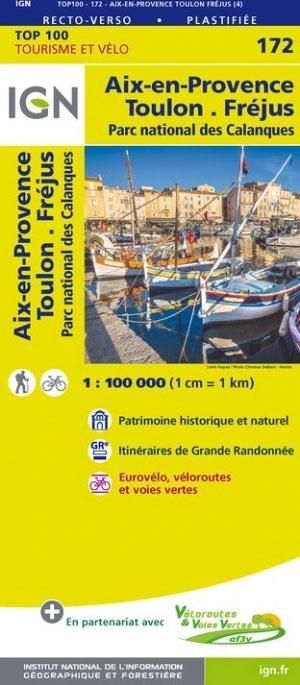 SV-172  Toulon, Aix-en-Provence | omgevingskaart / fietskaart 1:100.000 9782758540885  IGN Série Verte 1:100.000  Landkaarten en wegenkaarten Côte d'Azur, Franse Alpen: zuid