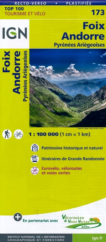 SV-173  St.Gaudens/Andorre | omgevingskaart / fietskaart 1:100.000 9782758540892  IGN Série Verte 1:100.000  Fietskaarten, Landkaarten en wegenkaarten Franse Pyreneeën