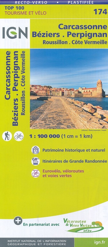 SV-174  Beziers, Perpignan, Carcassonne | omgevingskaart / fietskaart 1:100.000 9782758540908  IGN Série Verte 1:100.000  Fietskaarten, Landkaarten en wegenkaarten Franse Pyreneeën