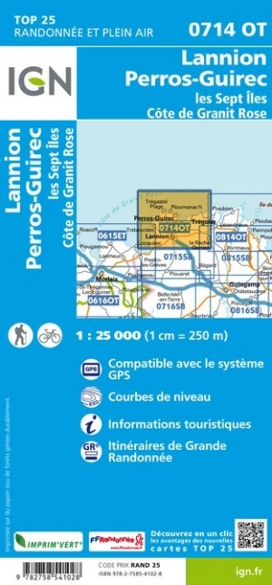 0714OT  Côte de Granit Rose | wandelkaart 1:25.000 9782758541028  IGN IGN 25 Bretagne  Wandelkaarten Bretagne