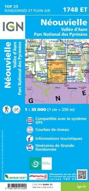 1748ET Néouvielle, Vallée d'Aure | wandelkaart 1:25.000 9782758541400  IGN TOP 25  Wandelkaarten Franse Pyreneeën