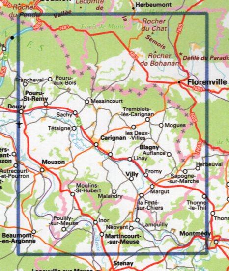 wandelkaart 3110-SB Carignan - Mouzon 1:25.000 9782758541707  IGN IGN 25 Champagne / Ardennes  Wandelkaarten Champagne, Franse Ardennen