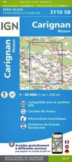 SB-3110SB Carignan - Mouzon  | wandelkaart 1:25.000 9782758541707  IGN Serie Bleue (vernieuwd)  Wandelkaarten Champagne, Franse Ardennen