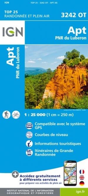 3242OT   Apt , P.N.Rég. du Luberon | wandelkaart 1:25.000 9782758541820  IGN IGN 25 Provence  Wandelkaarten Provence, Marseille, Camargue