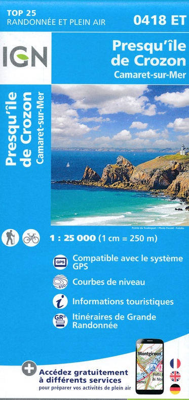 0418ET  Camaret. Presqu'Île de Crozon | wandelkaart 1:25.000 9782758542513  IGN TOP 25  Wandelkaarten Bretagne