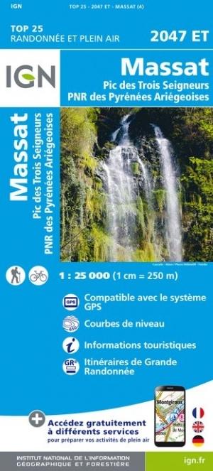 2047ET   Massat | wandelkaart 1:25.000 9782758542735  IGN IGN 25 Franse Pyreneeën  Wandelkaarten Franse Pyreneeën