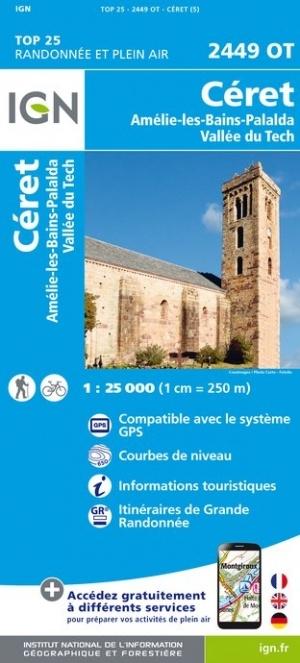 2449OT Céret, Amélie-les-Bains-Palalda | wandelkaart 1:25.000 9782758543046  IGN TOP 25  Wandelkaarten Franse Pyreneeën