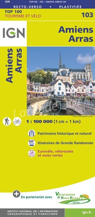SV-103  Amiens, Arras | omgevingskaart / fietskaart 1:100.000 9782758543565  IGN Série Verte 1:100.000  Fietskaarten, Landkaarten en wegenkaarten Champagne, Franse Ardennen, Picardie, Nord
