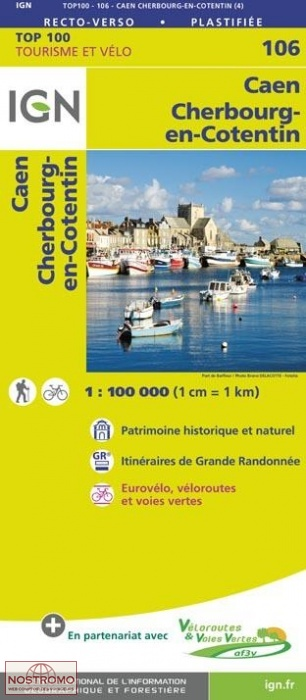 SV-106 Caen/Cherbourg | omgevingskaart / fietskaart 1:100.000 9782758543572  IGN Série Verte 1:100.000  Fietskaarten, Landkaarten en wegenkaarten Normandië