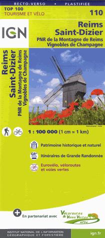 SV-110  Reims, St-Dizier | omgevingskaart / fietskaart 1:100.000 9782758543602  IGN Série Verte 1:100.000  Fietskaarten, Landkaarten en wegenkaarten Champagne, Franse Ardennen