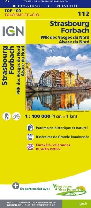 SV-112  Strasbourg/ Forbach | omgevingskaart / fietskaart 1:100.000 9782758543619  IGN Série Verte 1:100.000  Fietskaarten, Landkaarten en wegenkaarten, Lopen naar Rome Vogezen