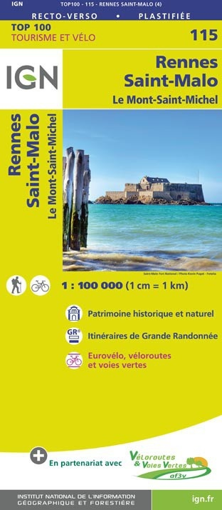 SV-115  Rennes, St-Malo | omgevingskaart / fietskaart 1:100.000 9782758543640  IGN Série Verte 1:100.000  Fietskaarten, Landkaarten en wegenkaarten Bretagne
