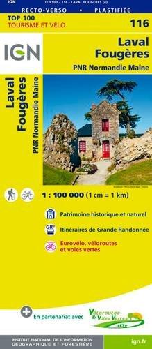 SV-116   Laval, Fougères | omgevingskaart / fietskaart 1:100.000 9782758543657  IGN Série Verte 1:100.000  Fietskaarten, Landkaarten en wegenkaarten Normandië