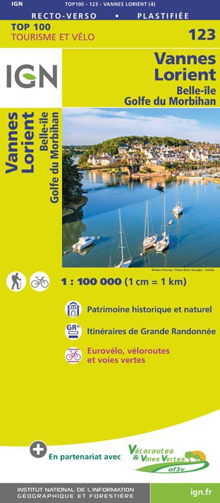 SV-123  Lorient/Vannes | omgevingskaart / fietskaart 1:100.000 9782758543695  IGN Série Verte 1:100.000  Fietskaarten, Landkaarten en wegenkaarten Bretagne