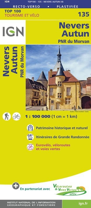 SV-135  Nevers, Autun | omgevingskaart / fietskaart 1:100.000 9782758543732  IGN Série Verte 1:100.000  Fietskaarten, Landkaarten en wegenkaarten Bourgogne